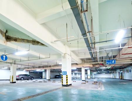 parking lot interior: Half empty underground garage or parking