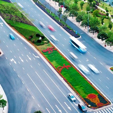 bird eye view: Birdview on the street in big cities Stock Photo