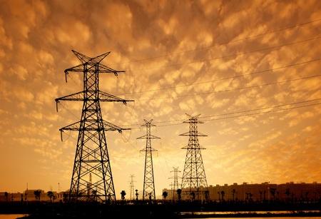 high voltage post High-voltage tower sky background  photo
