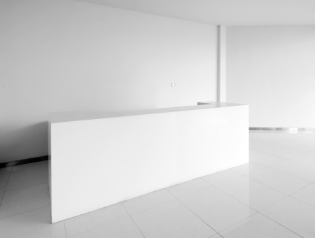reception counter: The new hospital lobby, clean and bright