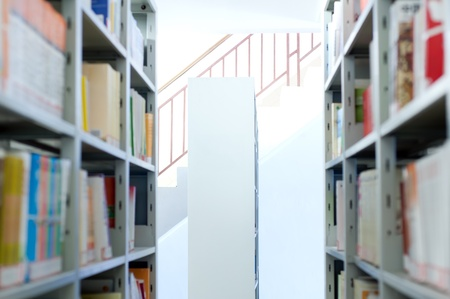 enrich: The school library, students enrich their own place. Stock Photo