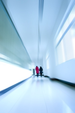 illuminated wall: The school corridors, very sense of perspective. Stock Photo