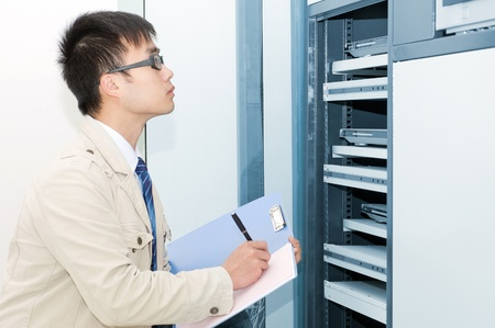 tcp: it engineer  work is being seriously  Stock Photo