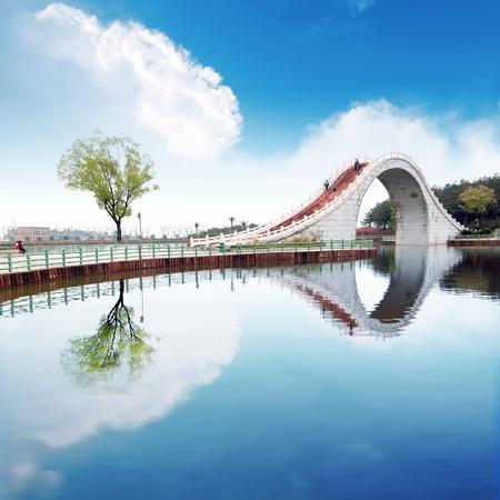 Suzhou Gärten, unter den blauen Himmel Brücken und Seen.