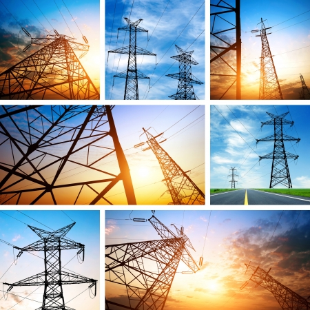 The high-voltage tower in the sky background (Puzzle) Stock Photo - 13640819
