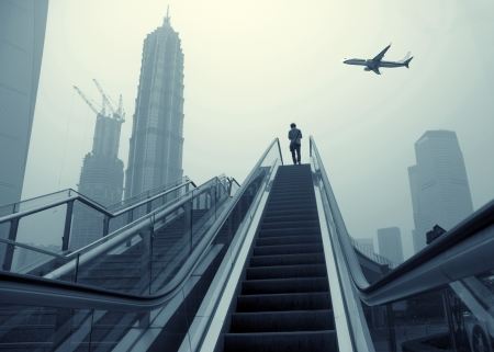 Escalator of Shanghai streets, skyscraper buildings. Stock Photo - 14146986