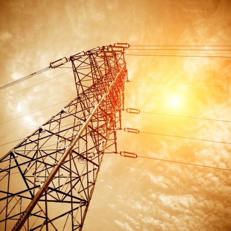 high voltage post.High-voltage tower sky background. photo