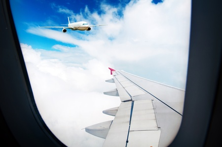 the airplane with the blue sky background. Stock Photo - 14800629