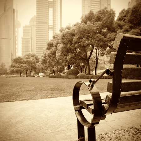 Shanghai Lujiazui financial district, park benches photo