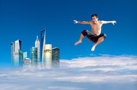exaggerated: Man jumping on the clouds in the sky background, synthetic images, exaggerated expression.