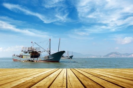 Blue sky and sea and fishing boats