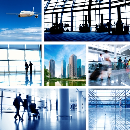 airport security: business travel background about train and airplane,the concept about passenger traveling  Editorial