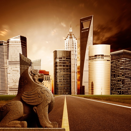 Highway leading to the Shanghai Lujiazui financial district photo