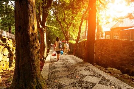 culdesac: Cul-de-sac in the dusk and pedestrian