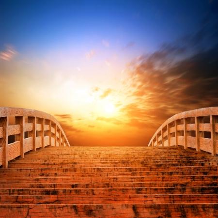 The evening sky, golden bridges  Stock Photo