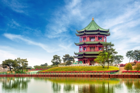 world cultures: Blue sky and white clouds, ancient Chinese architecture  garden  Stock Photo
