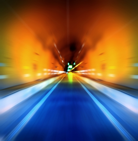 light at the end of the tunnel: Tunnel in Shanghai, China, Motion Blur