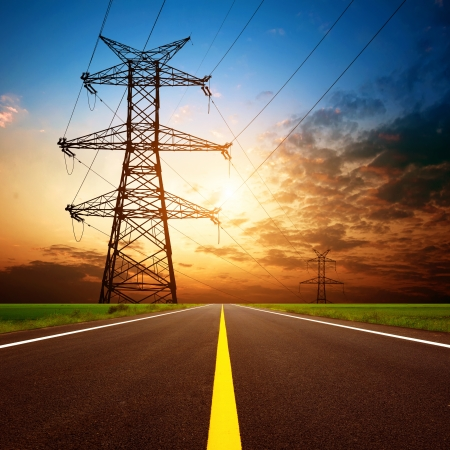 pylon: Dusk, highways and high-voltage tower  Stock Photo