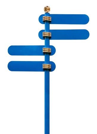 street name sign: Blue road sign isolated on a white background
