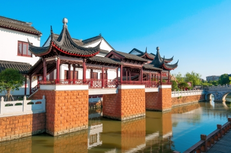 River of ancient Chinese architecture photo