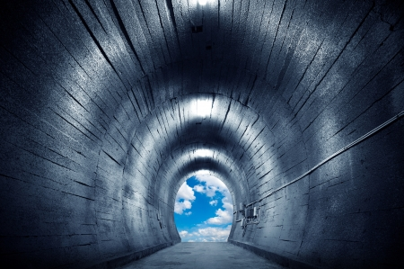 light at the end of the tunnel: Tunnel towards the sky, and exaggerated expression