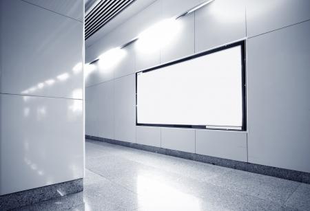 blank billboard: Blank billboard in metro station