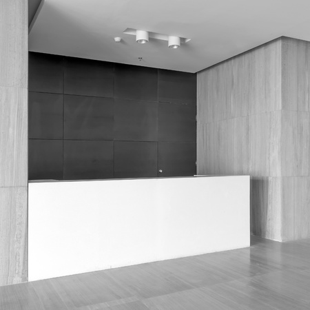 reception desk: The new office reception area, clean and bright.