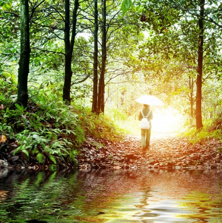 beautiful woodland: Solitude concept - lonely sad woman in the woods Stock Photo