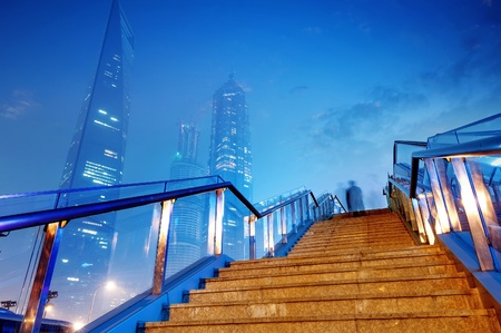 modernity: High-rises in Shanghais new Pudong banking and business district, across the Huangpu river from the old city. Stock Photo