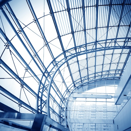 glass ceiling: Transparent glass ceiling, modern architectural interior. Editorial