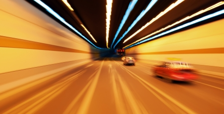 High-speed car in the tunnel, Motion Blur. Stock Photo - 16952119
