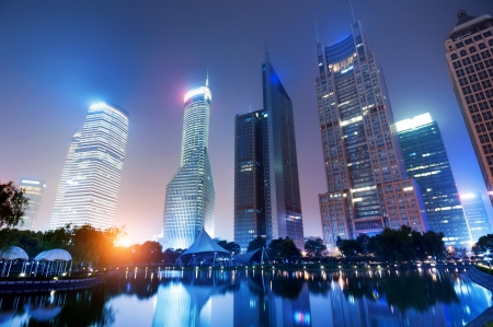 The night view of the lujiazui financial centre in shanghai china  Stock Photo - 16952653