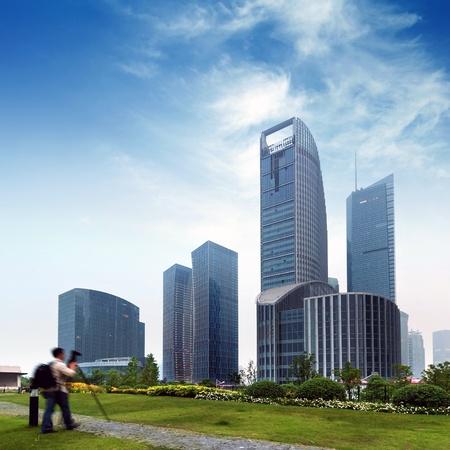 huangpu: Shanghai Lujiazui financial district skyscrapers