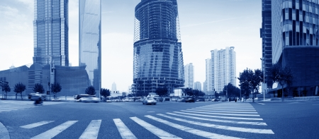 zebra crossing: the street scene of the century avenue in shanghai,China  Editorial