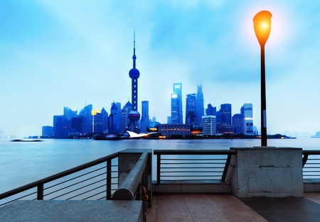 pudong district: Beautiful Shanghai Pudong skyline at dusk