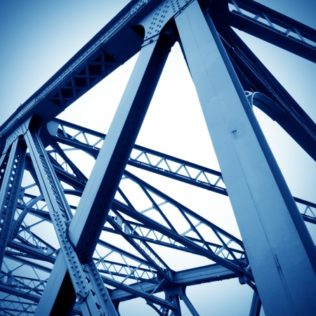 steel girder: Support above the bridge, steel structure close-up.  Stock Photo