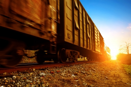 wood railroads: Dusk, Motion Blur freight train