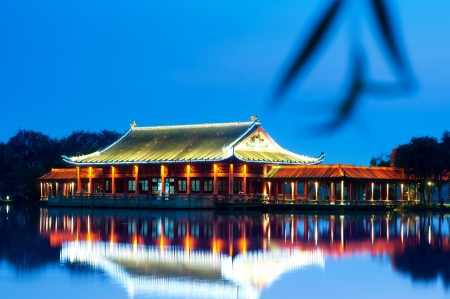 Night, pavilions on a river, Chinese architecture   photo