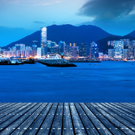 hk: Hong Kong Island from Kowloon  Stock Photo