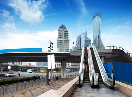 overbridge: Escalator of Shanghai streets, skyscraper buildings