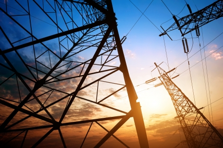 electricity pylon: high voltage post.High-voltage tower sky background.