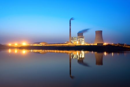 nuclear energy: Thermal power plant at night Editorial