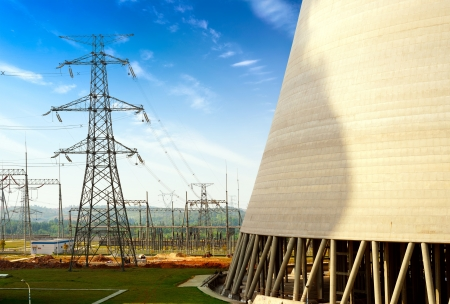 electricity grid: High-voltage tower of the coal-fired power plants