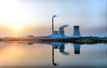 At dusk, the thermal power plants Stock Photo - 19739550