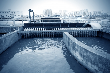sanitation: Modern urban wastewater treatment plant.