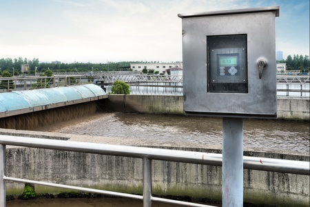 water recycling: Modern urban wastewater treatment plant.