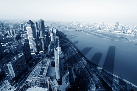 highroad: Aerial skyscrapers in big cities Stock Photo
