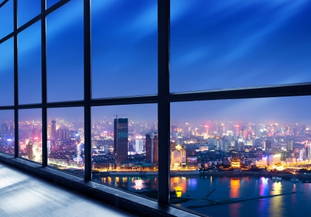 huang pu: Out of the window of the big city at night Stock Photo