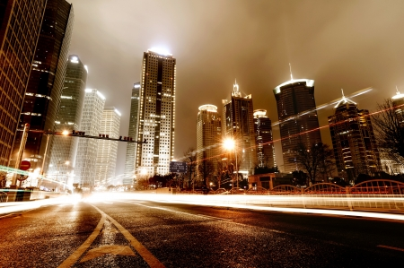 highway at night: light trails on the street in shanghai ,China.