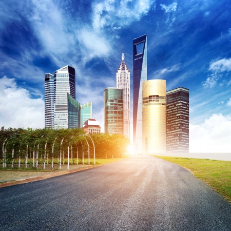 future city: Highway leading to the Shanghai Lujiazui financial district Stock Photo